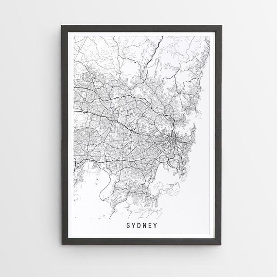 Sydney Map Print  Minimalist Map / New South Wales by InkyEditions