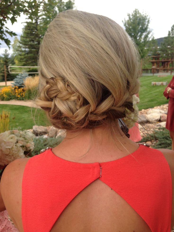 French braid side bun #bridesmaid #hair #braid #wedding #updo #hairbyastacia