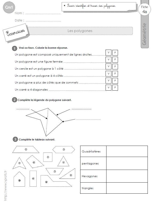 cm1: Exercices les POLYGONES, quadrilatères, triangles, carrés, hexagones, octogones, pentagones ...