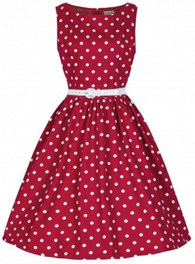 POSHme - LindyBop šaty Audrey, červené s puntíky