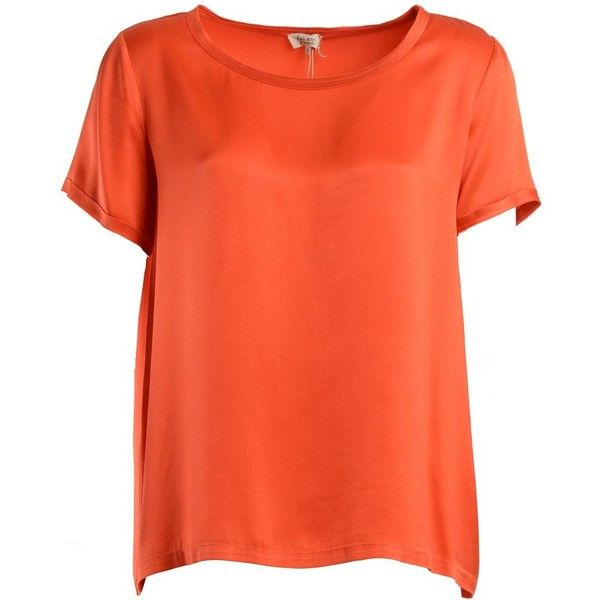 Her Shirt Topwear ($205) ❤ liked on Polyvore featuring tops, orange, short sleeve tops, short tops, silk shirt, orange silk top and short shirts
