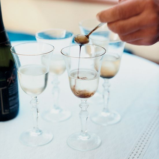 Prosecco-Saba Cocktail | This tart Italian cocktail—comprised of just two ingredients—can be mixed before serving or served as a layered drink for guests to stir themselves.