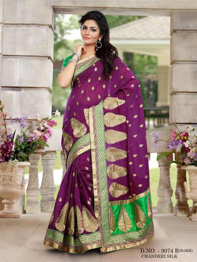 Maroon Silk Embroidered Designer Saree