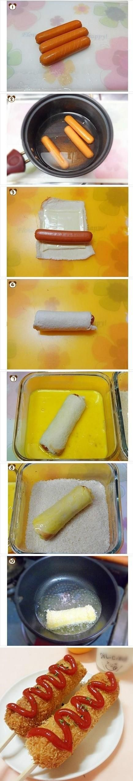 Different hot dog! Make several slices around hot dogs & then soak in hot water for 1-3 minutes. Roll/flatten bread squares, place cheese, then hot dog & roll up. Dip in the egg mixture & then roll in bread crumbs, pan fry until golden. Enter stick for corn-dog effect : )