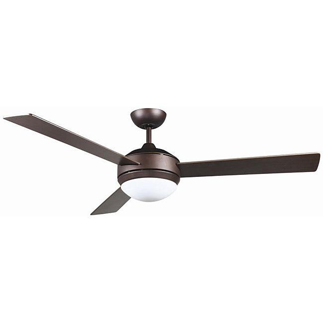 Extend your modern decor all the way to the ceiling with this contemporary bronze ceiling fan that sports two lights inside a white opal glass light fixture. The light onloy takes two 40-watt bulbs, and the fan sticks fifteen inches off the ceiling:::  For bedrooms and office upstairs?