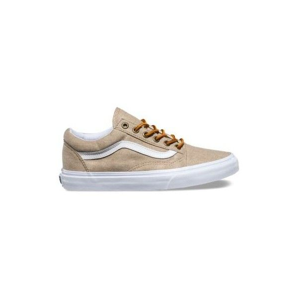Vans Washed Canvas Old Skool ($65) ❤ liked on Polyvore featuring shoes, sneakers, tan, canvas sneakers, skate shoes, lacing sneakers, low top skate shoes and vans trainers