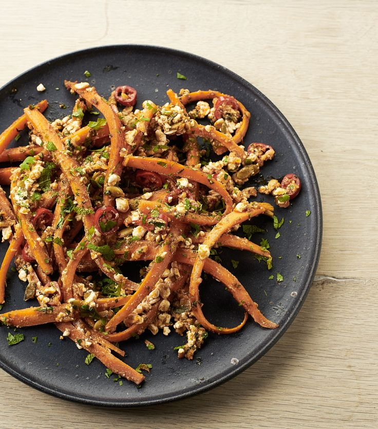 Moroccan styled grilled spicy carrots with cottage cheese