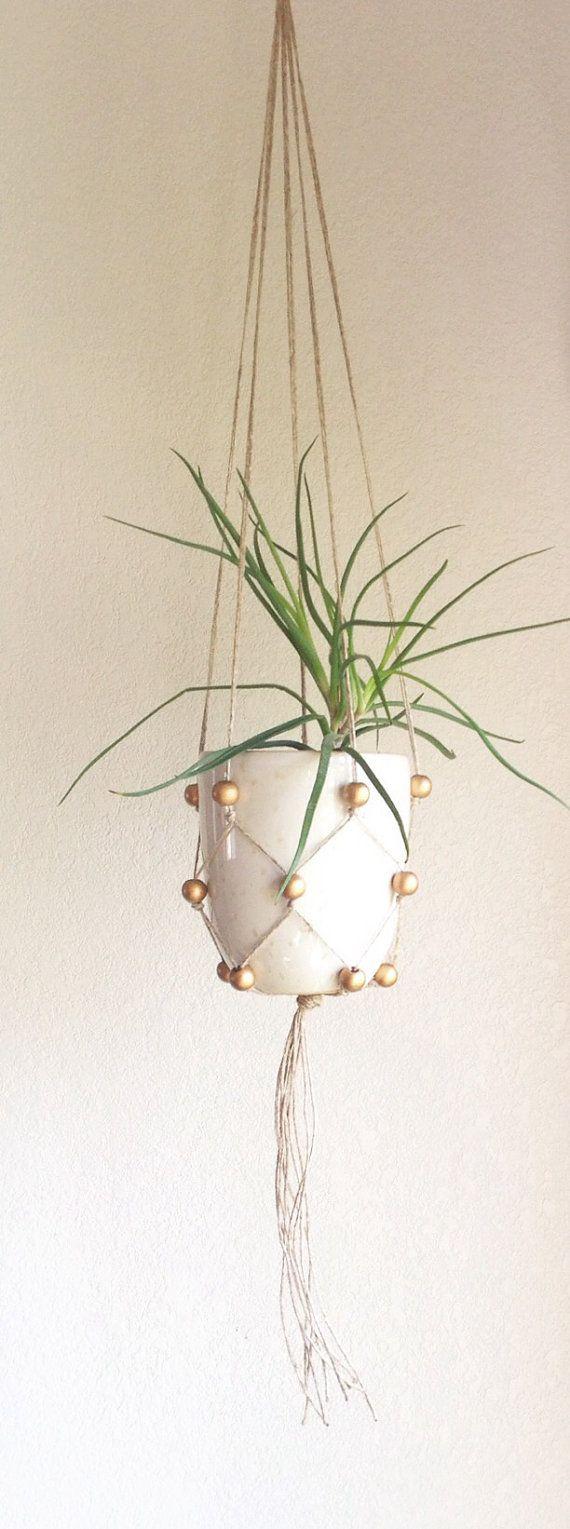 Gold Leaf Wooden Beaded Macrame Plant Hanger, bohemian home decor, boho plant holder