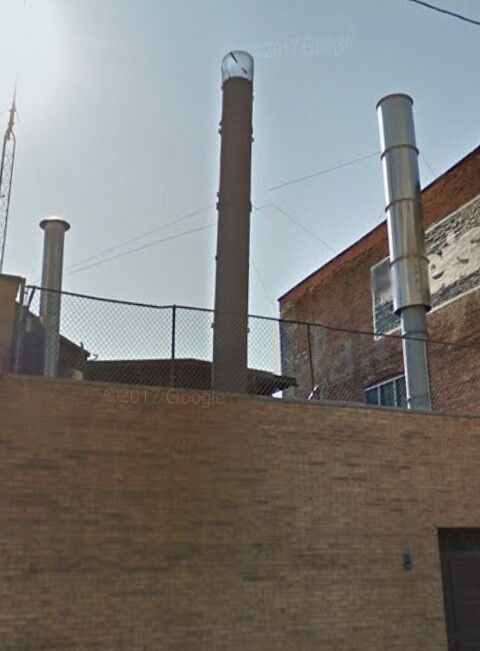 The three stacks of Cremation Services Inc/Suburban Pet Crematory. Two of the units are for humans, the third and smaller unit is for pets.   Cremation Services Inc.   1612 Leonard St.   Cleveland, OH - 44113.   Image courtesy of Google maps.