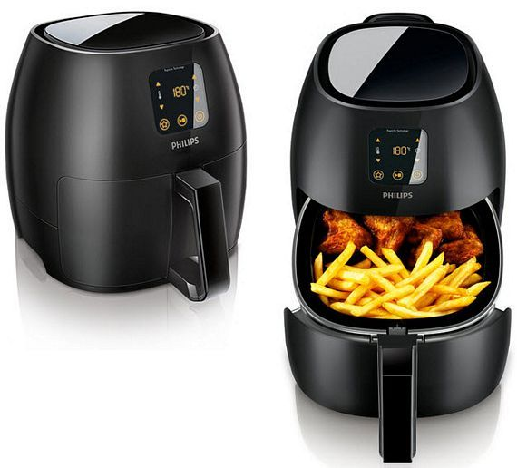 Phillips Air Fryer - Rapid Air technology, which combines precisely circulating hot air with an optimal temperature profile and a unique shape that allows it to fry food with a minimal amount of oil.  it produces perfectly crispy chips, fries and hot wings hands-free (no stirring and no turning) while injecting you with 80% less fat than conventional deep fryers.