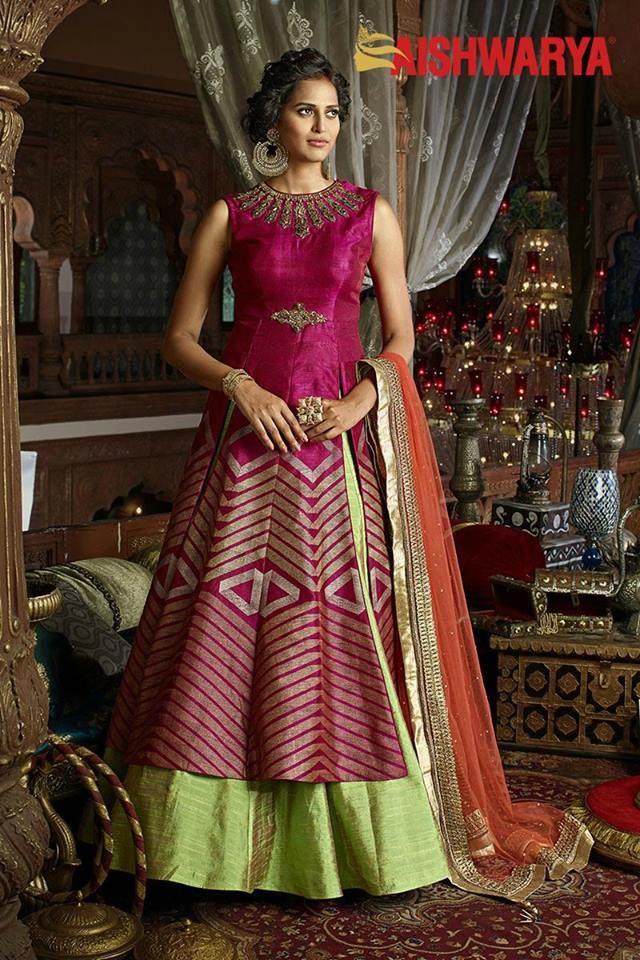 Flaunt your classy look in this gracious pink lehenga choli. Buy designer lehenga choli online - http://www.aishwaryadesignstudio.com/rani-pink-green-trendy-lehenga-choli