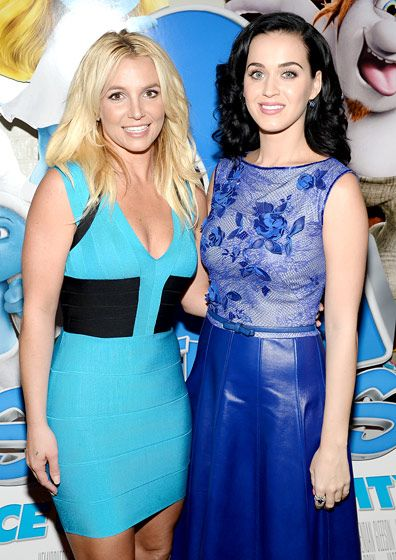 Divas Unite for Smurfs! Britney Spears and Katy Perry joined superstar forces at the premiere of Smurfs 2 in Westwood, Calif. July 28.