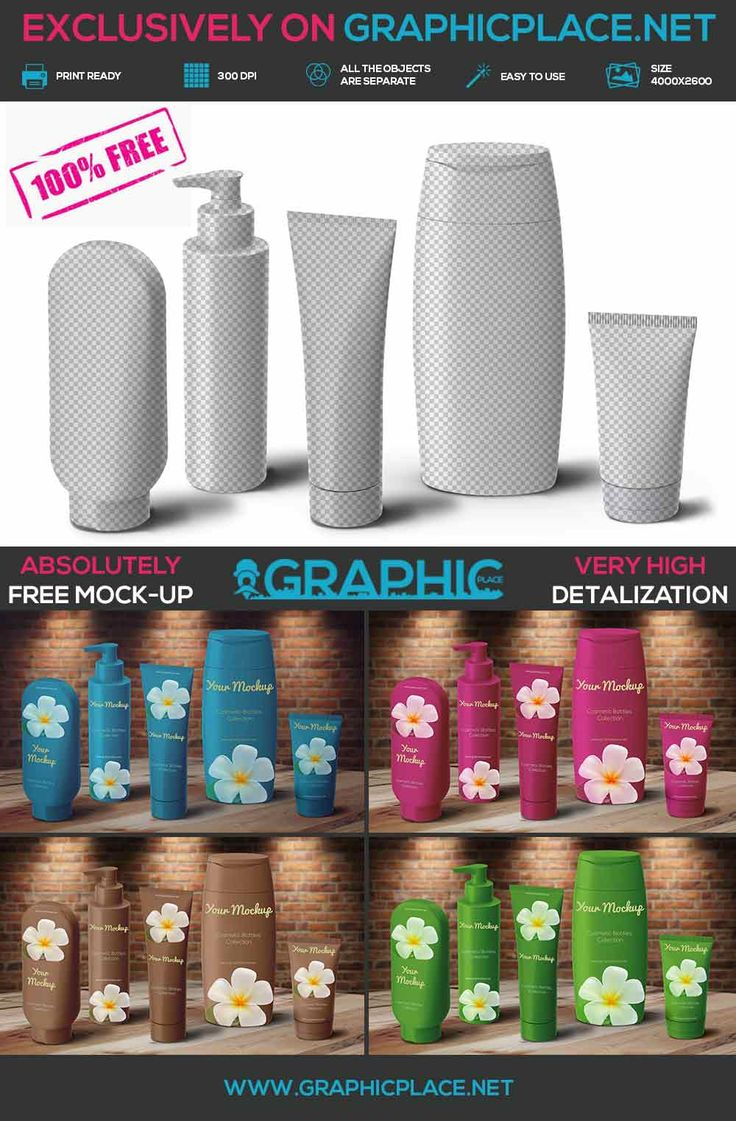 Cosmetic Bottles - Free PSD Mockup  #cosmetic #bottle #cosmeticbottle #freeMockUp #freepsd #freepng #psd #mockup #bottlemockup #cosmeticmockup  DOWNLOAD FREE PHOTOSHOP ACTION: http://www.graphicplace.net/cosmetic-bottles-free-psd-mockup/  MORE FREE GRAPHIC RESOURCES: http://www.graphicplace.net/