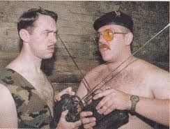 Reece Shearsmith and Nick Frost in Spaced. The second rule of Robot Club is... No Smoking