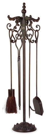 IMAX Royal Firetool Set - Traditional fireplace took set in wrought iron with scroll design includes stand and four tools as shown