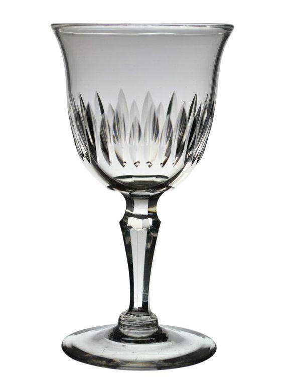 6 Cut Antique Dessert Wine GLASSES Elegant Gadrooned Christmas