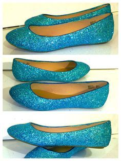 Women's Sparkly Turquoise Malibu Blue Glitter BALLET Flats bride wedding shoes - Glitter Shoe Co