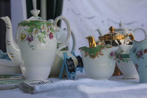 Green theme buffet shower tea