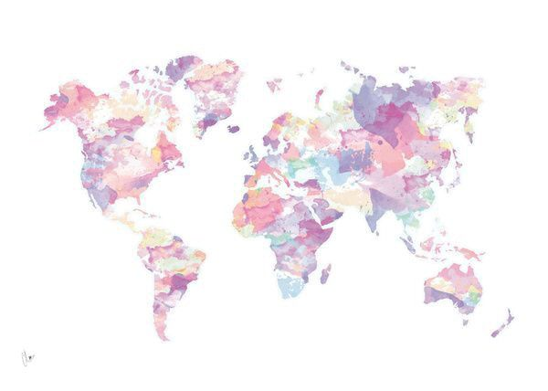 Pink watercolour world map