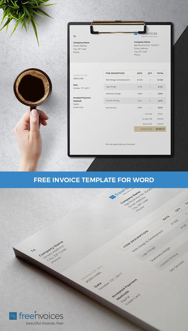 Free Invoice Template Editable With Microsoft Word Offered By Freenvoices #free #invoice #bill #receipt #template #design #word #printable #smallbusiness