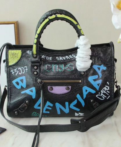 Replica Balenciaga Small Graffiti Classic City Shoulder Bag Black  5700 2 92f82d298a