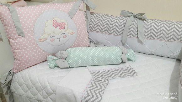 060bbc2e46 Compre kit berço americano 8 pçs ovelhinha Rosa verde e cinza no Elo7 por R