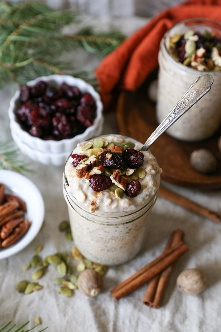 Eggnog Overnight Oatmeal - dairy-free, refined sugar-free, gluten-free, and healthy | TheRoastedRoot.net #breakfast #recipe #brunch #holiday #christmas