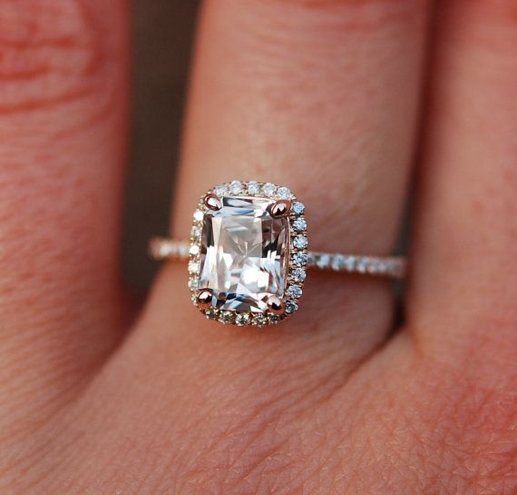 White Sapphire Ring 14k Rose Gold Diamond Engagement Ring 1.81ct Emerald white sapphire