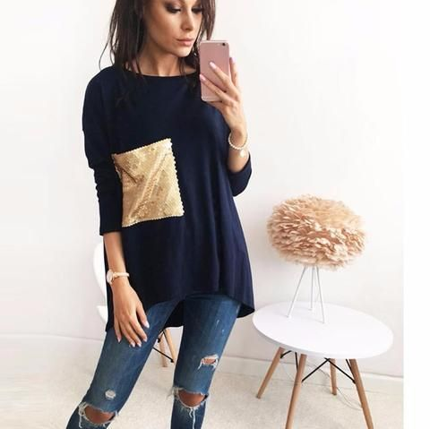 Sequin Patched Long Tee
