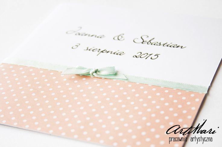 eleganckie zaproszenie ślubne w groszki