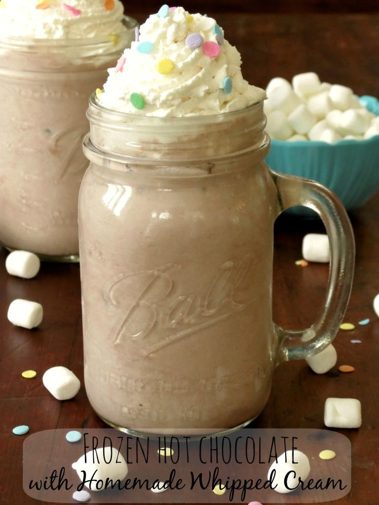 Creamy Frozen Hot Chocolate with Homemade Whipped Cream. A creamy, dreamy frozen drink that is just perfect for summer!