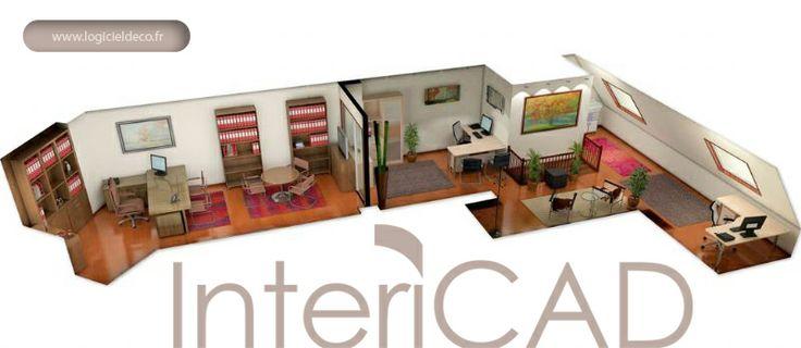 Plan 3D d'un Bureau réalisé avec InteriCAD. Logiciel: www.logicieldeco.fr