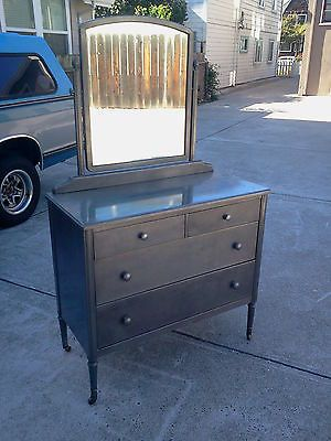 1930 S Simmons Raw Steel Metal Dresser Vanity W Mirror Stripped Clear Coat Vtg Antique Vintage L Ve Pinterest And Drawers