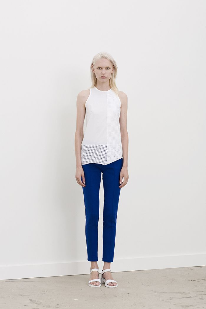 Jamie singlet top with hem to shoulder panel of laser cutting worn with Ewers cigarette pants