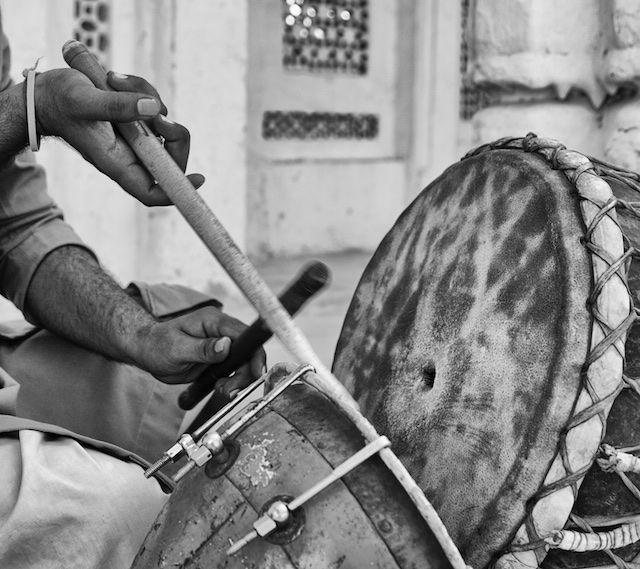 A traditional Indian drummer