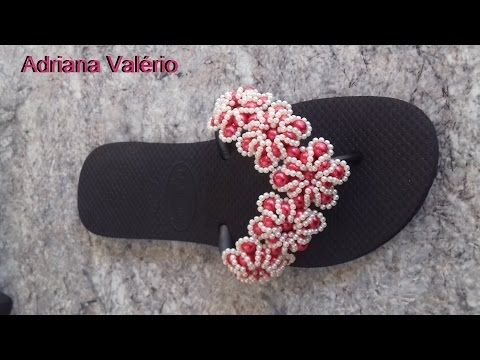 Chinelo decorado: manta flor de pérolas - YouTube