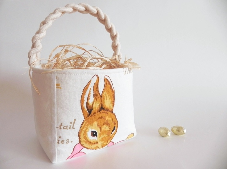 Peter Rabbit Easter Basket with Vintage Beatrix Potter Fabric - Boy Girl - Baby Shower - Birthday Party - Nursery - MOTHER RABBIT 1 Handle. $55.00, via Etsy.