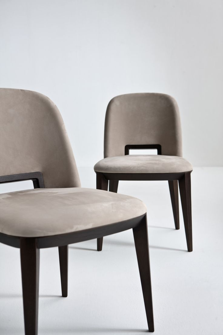 Margaret - Sophisticated chair with wood handle, covered with leather, by Cesare Aorsio   Laurameroni