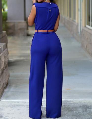 Blue Surplice Sleeveless V Neck Belted Long Pants Jumpsuit For Women