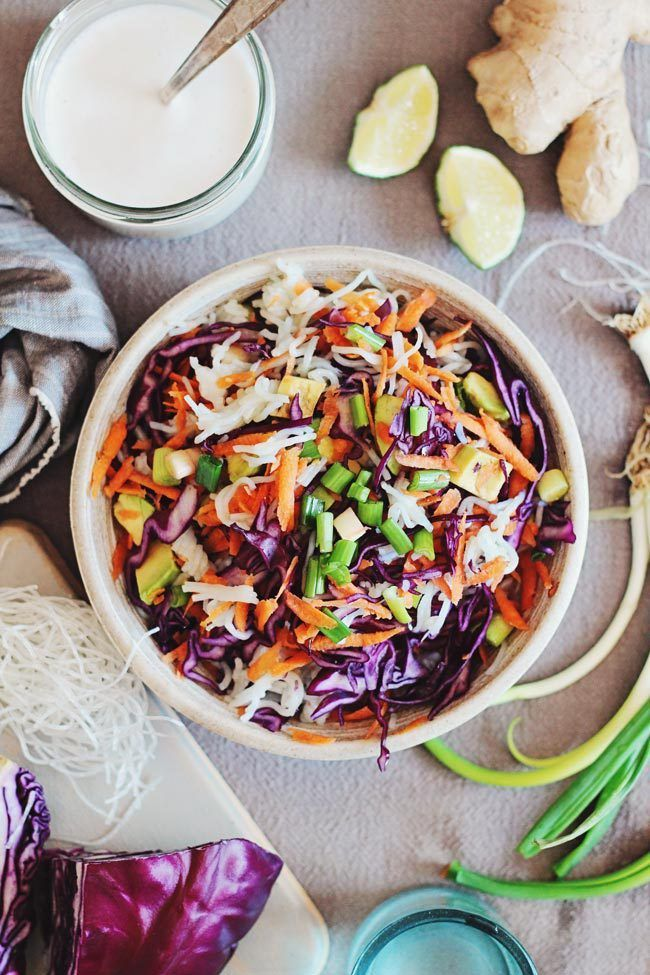 Rainbow Salad Recipe with Kelp Noodles and Ginger-Lime Dressing