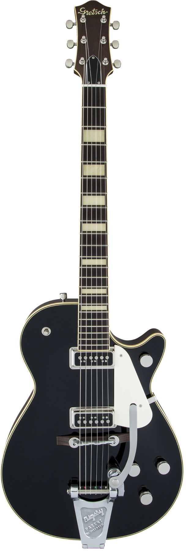 """Gretsch Guitars G6128T-53 Vintage Select '53 The Gretsch Vintage Select guitars take inspiration from the Gretsch guitars of the 1950s and early '60s. Designed with the same chambered mahogany design, the modern G6128T-53 adds a rare Gretsch """"sc"""