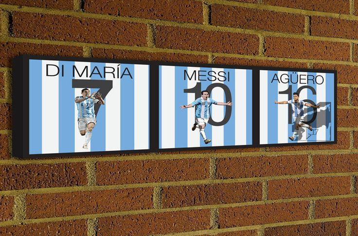 Argentina Players Canvas Print - Ángel Di María, Lionel Messi and Sergio Agüero Soccer Poster #futbol #soccer #football #messi #aguero #dimaria
