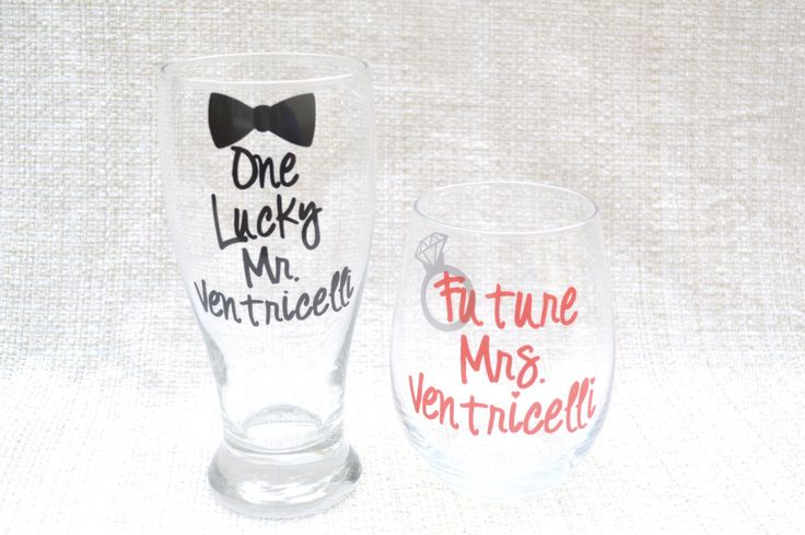 Personalized Engagement gift, bridal shower gift, engagement present, one lucky mr, future mrs, gift for bride to be, bridal wine glass by BellaCuttery on Etsy https://www.etsy.com/listing/179771240/personalized-engagement-gift-bridal