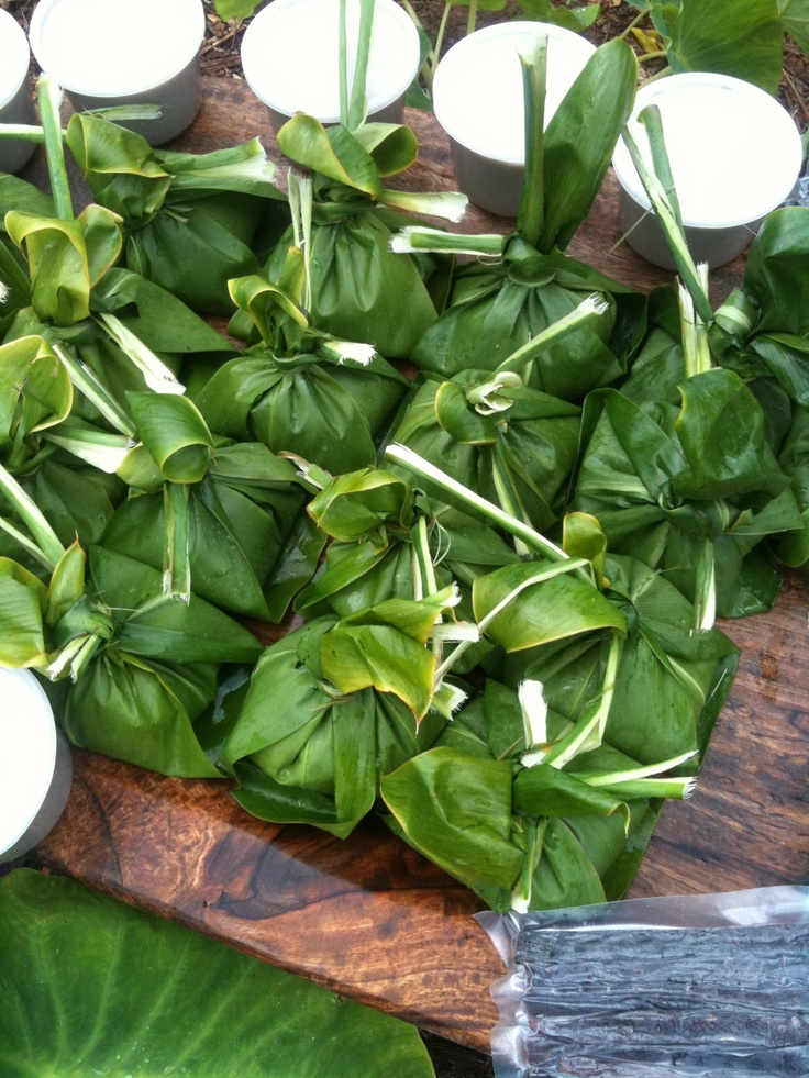 Lau Lau - Instead of ti leaf, I wrap in foil and cook them in the crock pot. If you can't find luau leaves - use spinach or kale!
