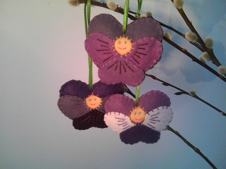 Set of 3 Felt Ornaments--Pansy, Violet, and Viola Flower Children Spring Decor.