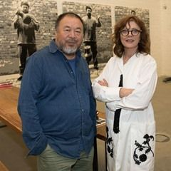 American actress Susan Sarandon pays a visit to the workshop of Chinese artist Ai Weiwei in Berlin