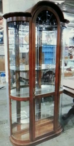 Pulaski Curved Glass Lighted Curio Cabinet Hutch Storage