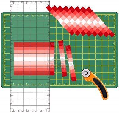 Patchwork: How to Do it Yourself. Schneiden Sie genähten Stoffbahnen, reorganisieren in Mustern und Designs mit transparenten Lineal, Rollsc...