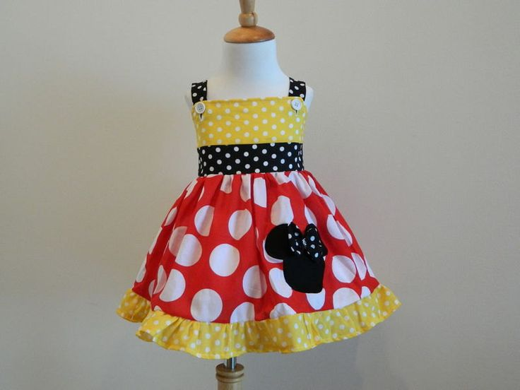 Girls Custom Hand Made Minnie Mouse Red White And Yellow Polka Dot Jumper Dress. $39.00, via Etsy.