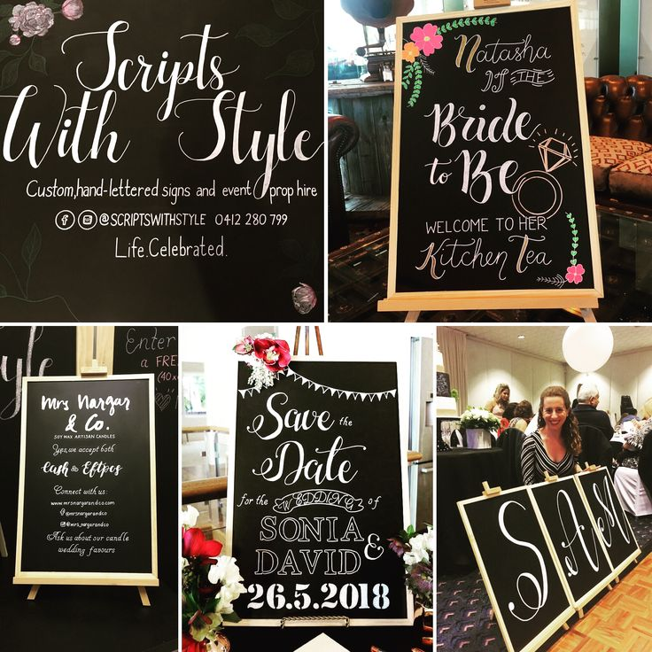 We create chalkboards for all occasions. Featured here are a modern Kitchen Tea/Bridal Shower chalkboard sign, business sign for a market stall, an Engagement/Save The Date sign and a christening name board.